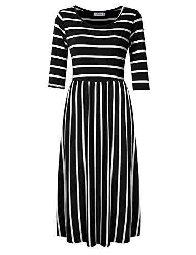SoleMay Women's 3/4 Sleeve Scoop Neck Pockets Striped Pleated Loose Swing Casual Midi Dress Black M (Ladies 3/4 Length Leather)
