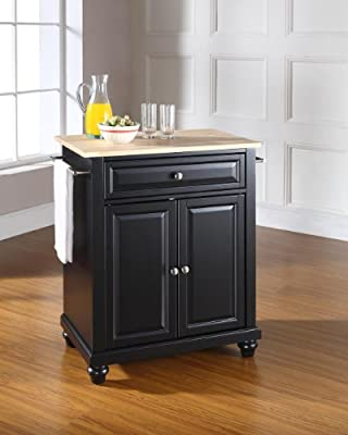 Crosley Furniture Cambridge Cuisine Kitchen Island with Natural Wood Top - Black
