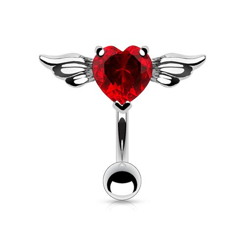 Amelia Fashion 14GA Angel Winged Red Heart 8mm CZ Top Down Belly Button/Navel Ring 316L Surgical Steel (Steel & Red) ()