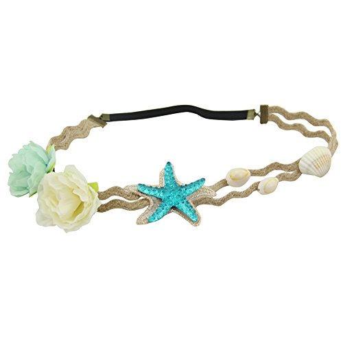 QtGirl Women Girls Bohemia Headband Shell Starfish Floral Stretchable Hemp Rope Hairband Bridal Headpieces Hair Accessories - Hawaiian Rope