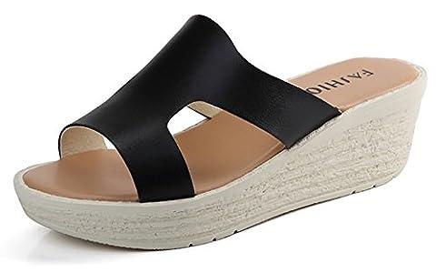 Sneeyid Women's Style and Comfort Slip-On Platform Wedge Simple Slide Sandals(Black-US 7.5)