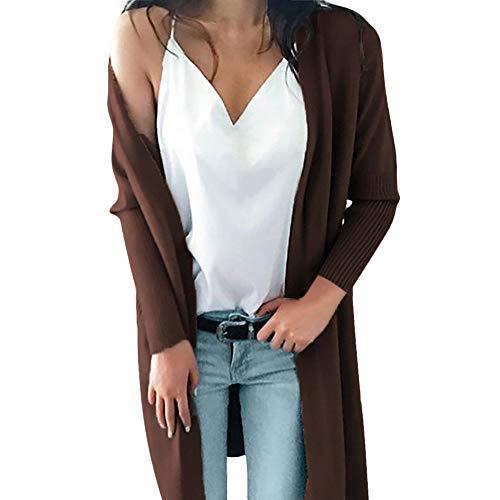 - ZEFOTIM Women Winter Long Sleeve Solid Pockets Knitted Long Sweater Coat Tops Blouse(X-Large,Coffee)