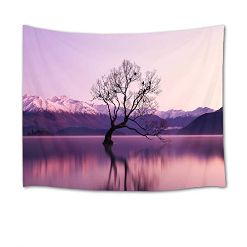 HVEST Colourful Tropical Fish Tapestry, Mountains and Lake Morning with Purple HangingWall Hanging, A Dead Tree Full of Birds in The Lake Tapestries for Bedroom Living Room Dorm Party Decor,80Wx60H