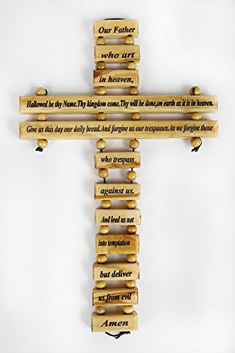 Olive Wood Father in Heaven Lord's Prayer Hanging Cross by Bethlehem Gifts TM (English 9