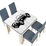 Engine Block Coffee Table PINAFORE Decorative Tablecloth American Authentic Aged Vehicle with Bright Stylized Wealth Properties Engine Assorted Size 49 x 49 INCH (Elastic Edge)