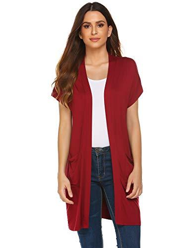 Zeagoo Women's Short Sleeve Vest Casual Open Front Cardigan Blazer with Pockets Wine Red ()