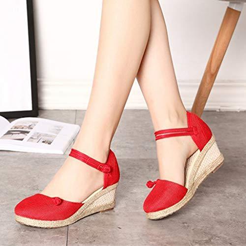 lacets Casual Stiletto compensés chaussures cuir femmes Sand Heels uni et Zyueer en Fashion Sandales lin pour avec rouges SRqwzPX5xP