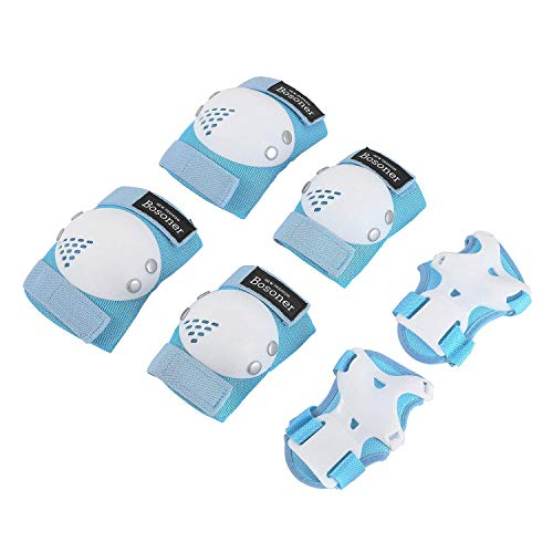 BOSONER Kids/Youth Knee Pad Elbow Pads for Rollerblade Roller Skates Cycling BMX Bike Skateboard Inline Rollerblading, Skating Skatings Scooter Riding Sports (Blue/White, Small (3-7 Years)) (Best Skates For 4 Year Old)