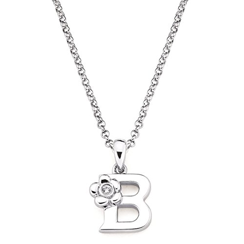 Little Diva Diamonds Girl's Initial Pendant Necklace (Letter B)