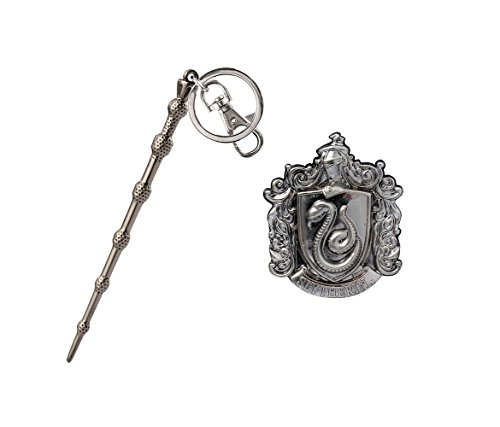 Mozlly Value Pack - Harry Potter Harrys Wand Pewter Key Chain AND Hogwarts Slytherin Crest Pewter Lapel Pin - Novelty Character Collectible Fashion Accessories (2 Items)