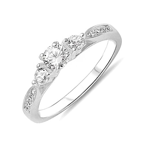 Three Clear Cubic Zirconia Accent Trio Sterling Silver Promise Wedding Ring Band Size 6