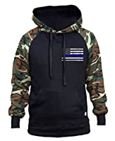 Men's Thin Blue Line Police Flag Black/Camo Raglan Baseball Hoodie Black