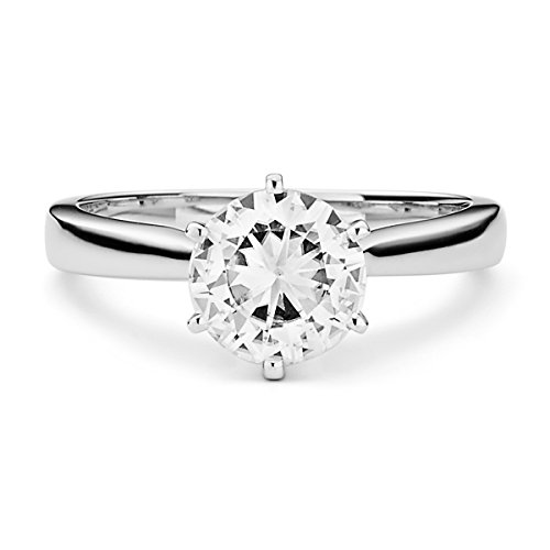 Forever Brilliant White Gold Round 7.5mm Moissanite Engagement Ring, 1.50ct DEW by Charles & Colvard