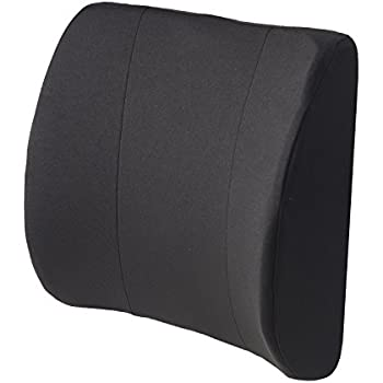 duromed relaxabac lumbar cushion lower back support pillow with wooden lumbar support board and alignment strap black