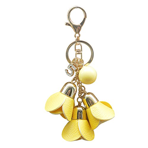 Charm Flower Tassel (Afco Fashion Rose Flower Leather Tassel Chain Pendant Keychain Car Bag Keyring (Yellow))