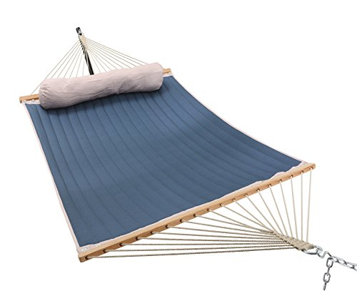 ELC 11 Feet Double Quilted Fabric Hammock with Pillow, Hammocks with Bamboo Spreader Bars and 2 Steel Chains, Perfect forOutdoor Patio Yard Hanging Hammock (Large Quilted Hammock Fabric)