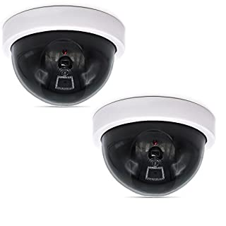 WALI Dummy Fake Security CCTV Dome Camera with Flashing Red LED Light (SDW-2), 2 Packs, White