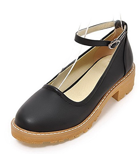 Odomolor Women's Buckle Pu Low-Heels Soild Closed-Toe Court Shoes, Black, 35