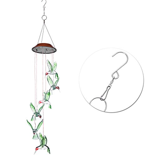 AGPtek Color-Changing LED Solar Mobile Wind Chime, LED Changing Light Color Waterproof Six Hummingbird Wind Chimes for Home/ Party/ Night Garden Decoration by AGPTEK
