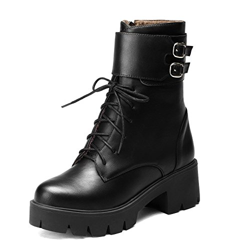AllhqFashion Womens Soft Material Zipper Round Closed Toe Kitten Heels Mid Top Boots Black E4rSjfbr