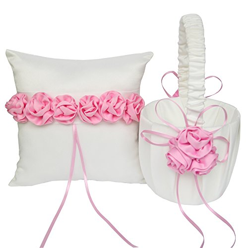 ARKSU Flower Girl Basket 5x8.5 inch and Ring Pillow 7.8x7.8 inch decorated with Satin Ribbon Rose for Rustic Wedding Shower Ceremony Party-Pink