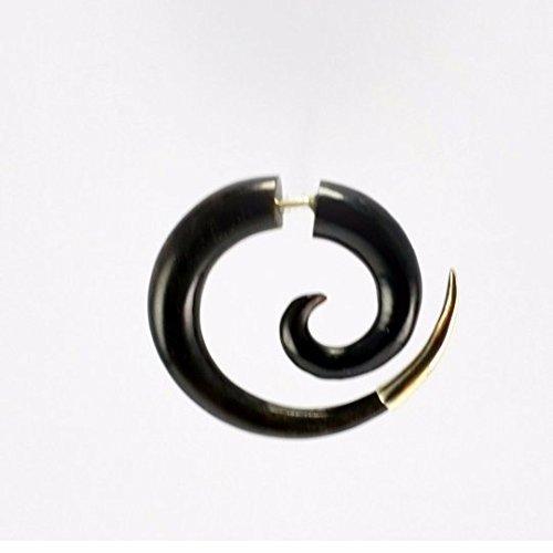 Fake Gauges - Sterling Silver Tipped Spiral Earrings - Horn - Faux Gauges ()
