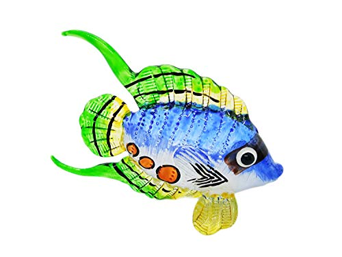 WitnyStore Blown Glass Hand Painted Arts Fish Figurine Blowing Statue Decor Animal Souvenir ()