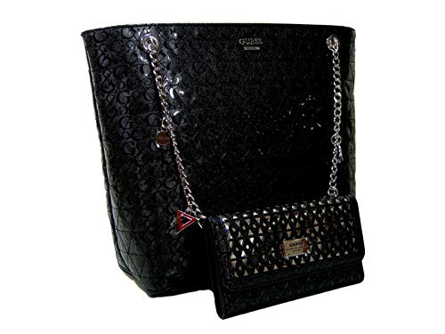 New Guess G Logo Embossed Purse Large Tote Hand Bag & Wallet Set 2 Piece Black