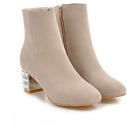 Invierno zapatos de de Beige corto lateral Otoño mujer elegante ZQ y tacón cabeza con QX gruesa alto sexy redonda cilindro los e botas botas n4FwqxS
