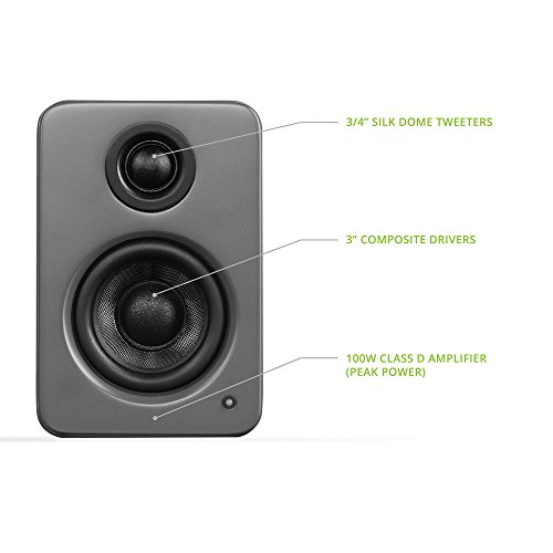 "Kanto 2 Channel Powered PC Gaming Desktop Speakers – 3"" Composite Drivers 3/4"" Silk Dome Tweeter – Class D Amplifier - 100 Watts - Built-in USB DAC - Subwoofer Output - YU2MG (Matte Grey)"
