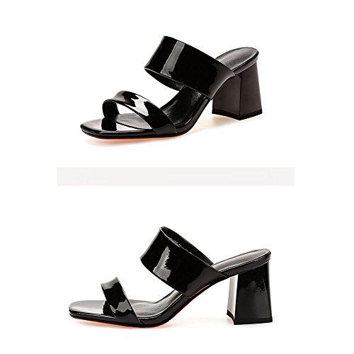 Tamaño Talón zapato 3 230 grueso tacón verano CN36 Boca de del EU36 Negro Hembra Negro LIXIONG UK4 6 Altura Ropa exterior Moda pescado Zapatos 5cm de Color colores moda zapatillas PTw0nxS
