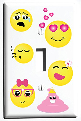 Single Toggle Emoji Light Switch Wall Plate Covers / Emoji Room Decor (Single Toggle Switch Plate)