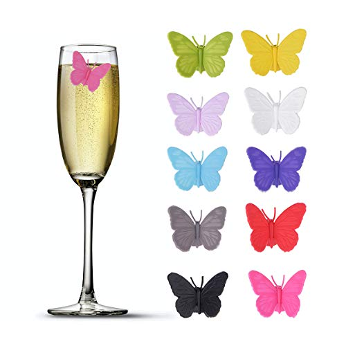 - Accering 3D Drink Glass Makers, Silicone Party Wine Charms Glass Bottle Tags for Guests, Hostess Gift, Dinner Parties - 10 pieces