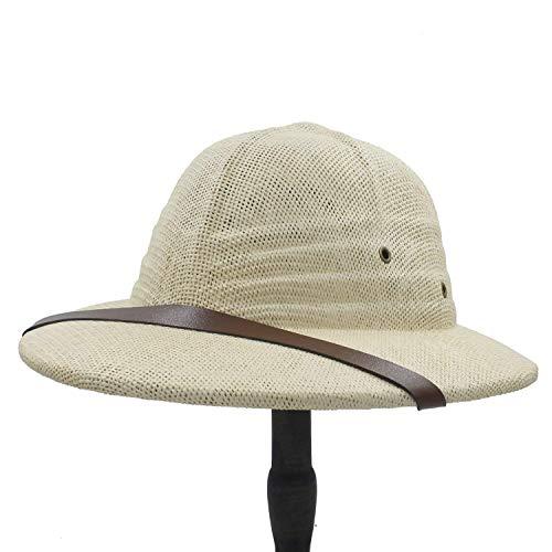 (Novelty Toquilla Straw Helmet Pith Sun Hats for Men Vietnam War Army Hat Dad Boater Bucket Hats Safari Jungle Miners Cap Very Soft)