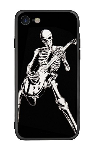 iPhone 7 & iPhone 8 Case, X-spirit TPU Plus PC Material Design for Musician Guitarist Rocker Phone Case Cover for Apple iPhone 7 & iPhone 8 (Black-Skeleton Playing Guitar) -