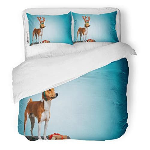 Semtomn Decor Duvet Cover Set King Size Pretty Brown and White Puppy Dressed Up As Reindeer Stays Next to in Box Red Bow Tag 3 Piece Brushed Microfiber Fabric Print -