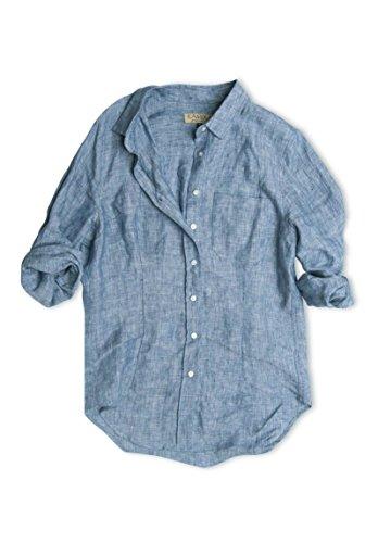Camisa Azul Larga Melange Camixa Lino De Manga Rayas Mujeres Para A awqAnR