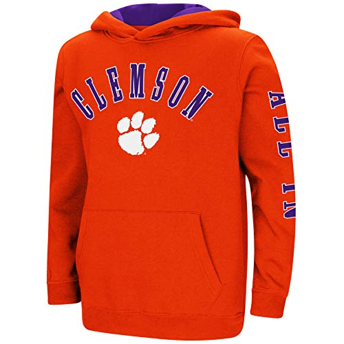 Colosseum NCAA Youth Boys-Crunch Time-Hoody Pullover-Clemson Tigers-Orange-Youth Large