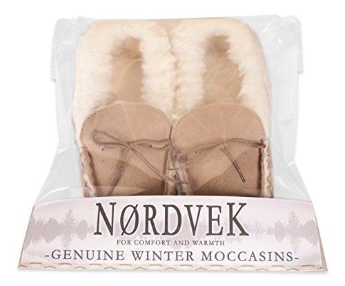 Nordvek - # 418-100 - Zapatillas de casa mujer - Tipo mocasín - Piel ovina auténtica - Suela de ante y collarín de lana marrón - Camel