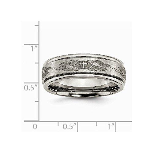 Titanium Ridged Edge 8mm Laser Design Brushed & Polished Band Size 10