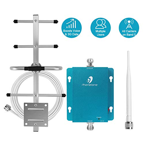 Cell Phone Signal Booster for Home and Office - 850MHz Band 5 GSM 3G Mobile Phone Repeater Amplifier Kit with Whip/Yagi Antennas - Reduce Dropped Calls for Remote Area