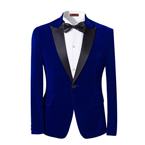 Button Tuxedo Jacket (Mens 2-piece Suit Peaked Lapel One Button Tuxedo Slim Fit Dinner Jacket  Pants Blue X-Small)