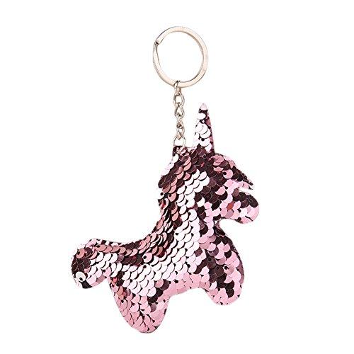 ACTLATI Glitter Sequins Unicorn Charm Keychain Bag Hanging Decoration Key (Charm Clip Keychain)