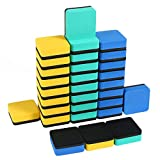 Magnetic Dry Eraser, Aolvo 30 Packs Chalkboard Eraser Bulk Mini Whiteboard Eraser Dry Erase Board Eraser for Kids Students Teachers at Classroom School Office Home, 2x2 inch (3 Colors)