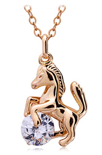 Ailianer Little Horse Necklace, Gold Pony Pendant Zircon Jewelry Gifts for Girls Birthday or Anniversary