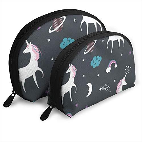 (Makeup Bag Unicorn Solar System Portable Shell Toiletry Bags Holder For Women)