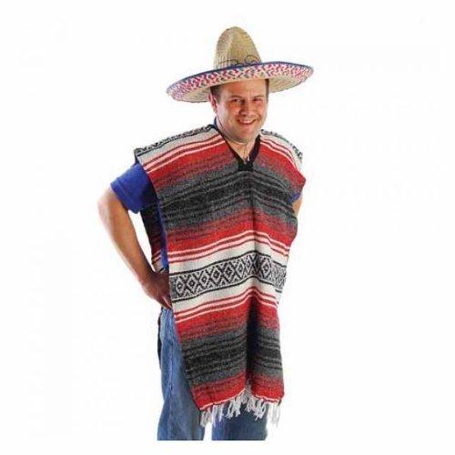 Multicolor Striped Serape Costume Accessory Adult-Sized Poncho