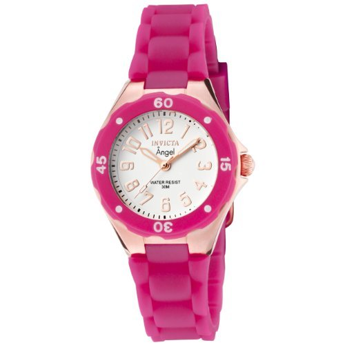 Invicta Women's 1624 Angel White Dial Plum Silicone Watch