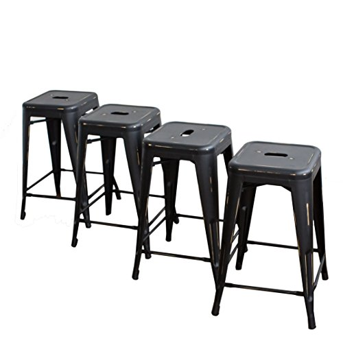 Buschman Counter Height Metal Bar Stools, Indoor/Outdoor, Stackable, 24