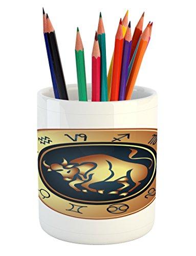 Ambesonne Zodiac Taurus Pencil Pen Holder, Circle with Twelv